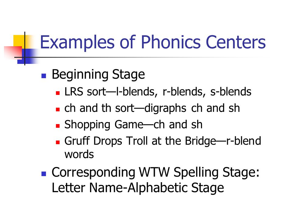 Examples of Phonics Centers