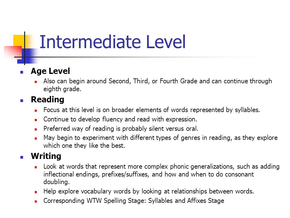 Intermediate Level Age Level Reading Writing