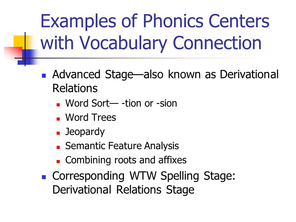 Examples of Phonics Centers with Vocabulary Connection