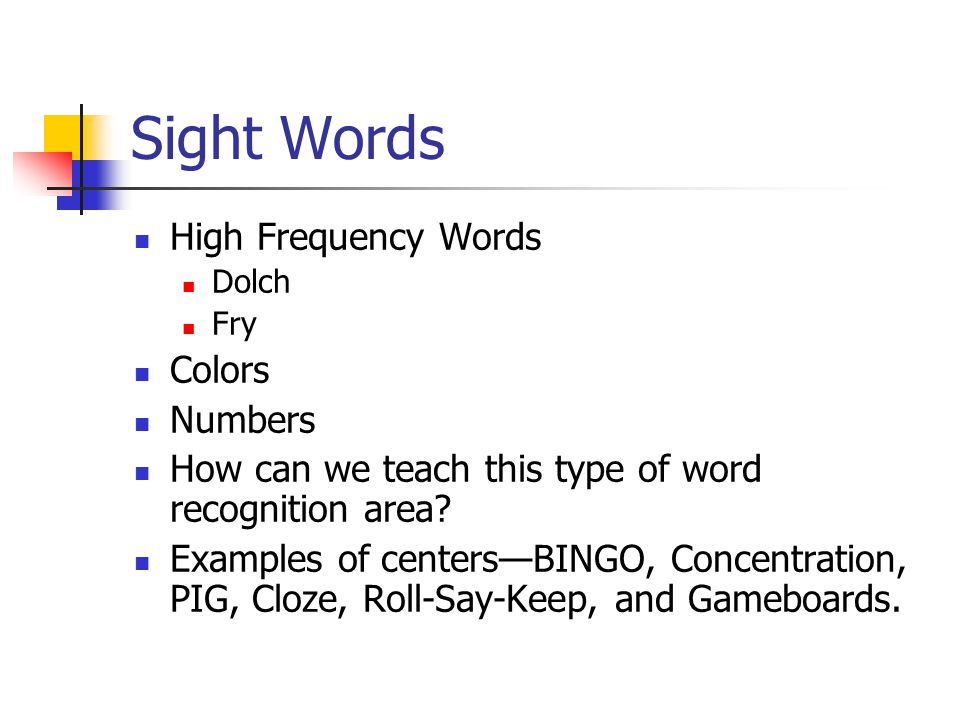 Sight Words High Frequency Words Colors Numbers