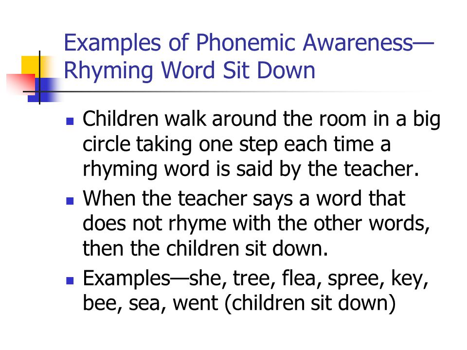 Examples of Phonemic Awareness—Rhyming Word Sit Down