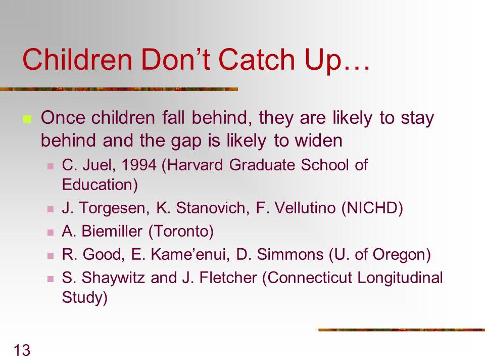 Children Don't Catch Up…