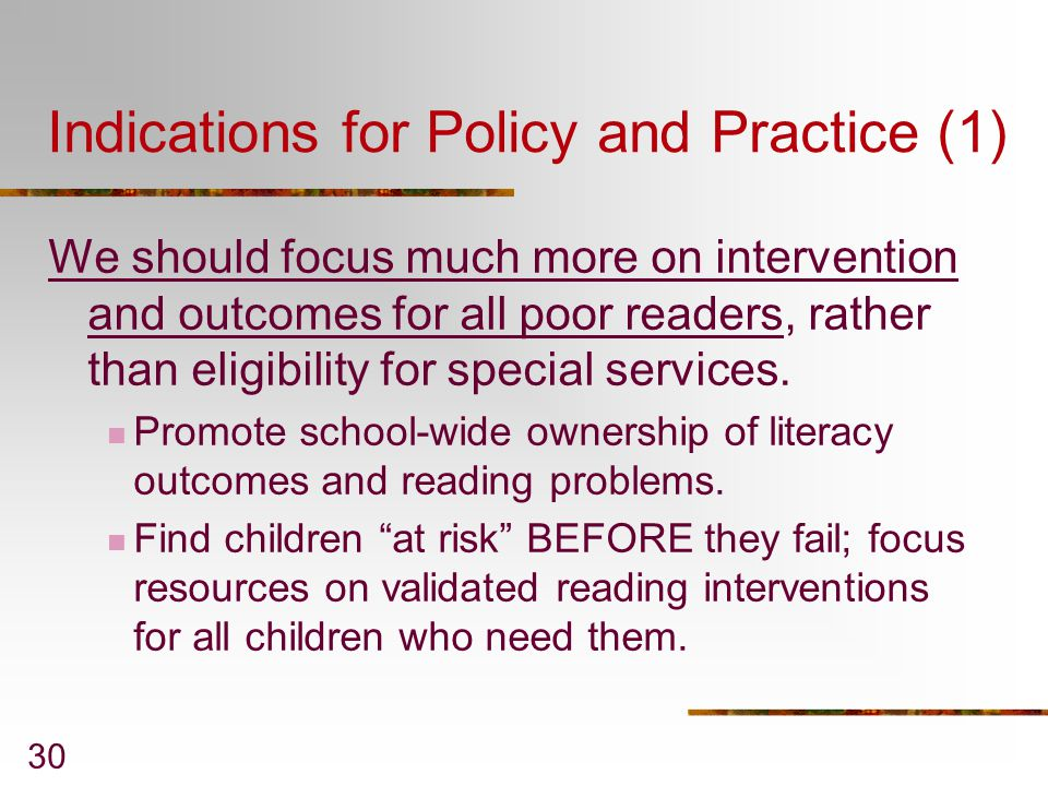 Indications for Policy and Practice (1)