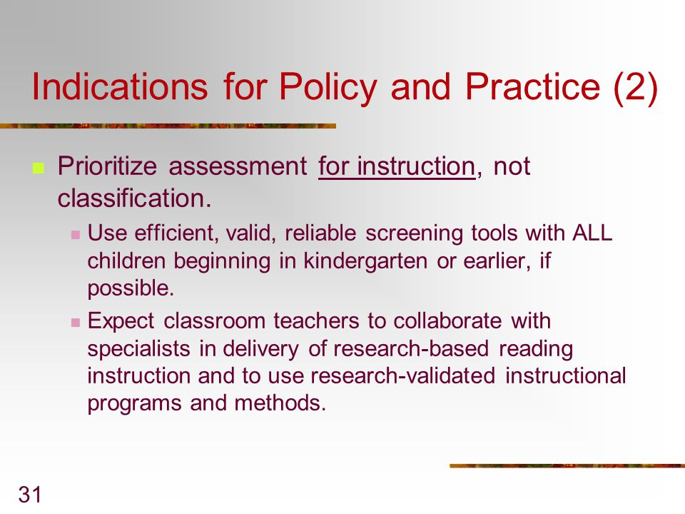 Indications for Policy and Practice (2)