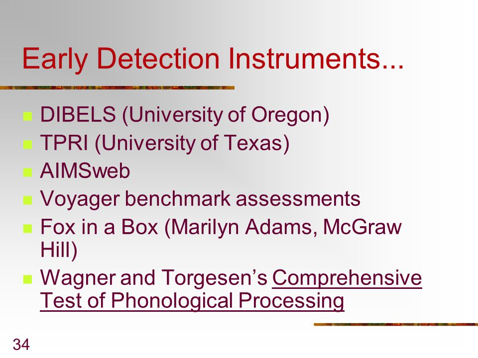 Early Detection Instruments...