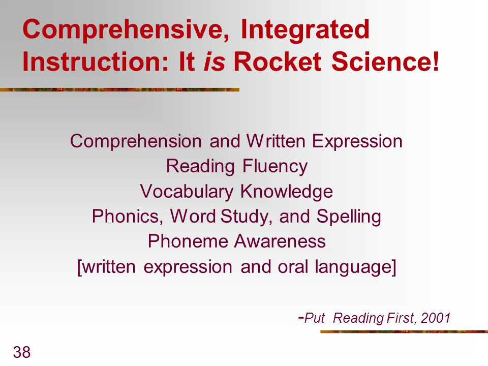 Comprehensive, Integrated Instruction: It is Rocket Science!