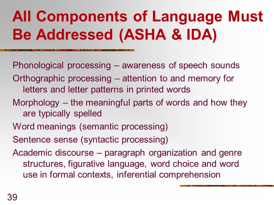 All Components of Language Must Be Addressed (ASHA & IDA)