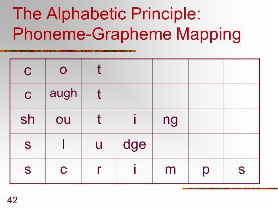 The Alphabetic Principle: Phoneme-Grapheme Mapping