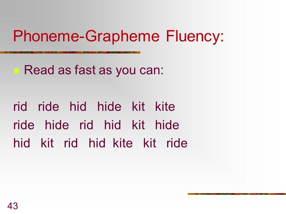 Phoneme-Grapheme Fluency: