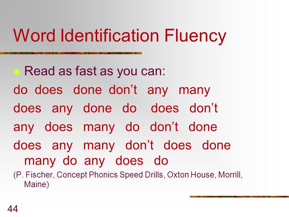 Word Identification Fluency