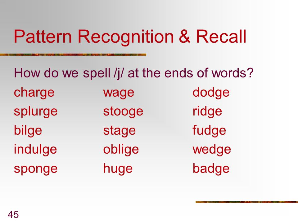 Pattern Recognition & Recall
