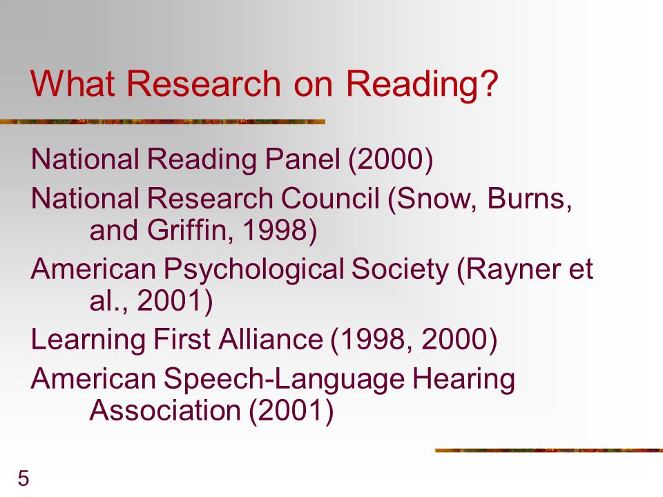 What Research on Reading