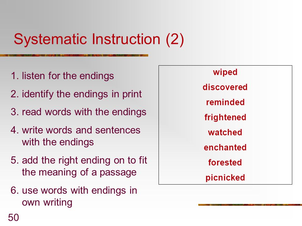 Systematic Instruction (2)