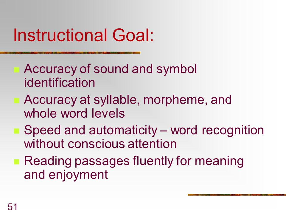 Instructional Goal: Accuracy of sound and symbol identification