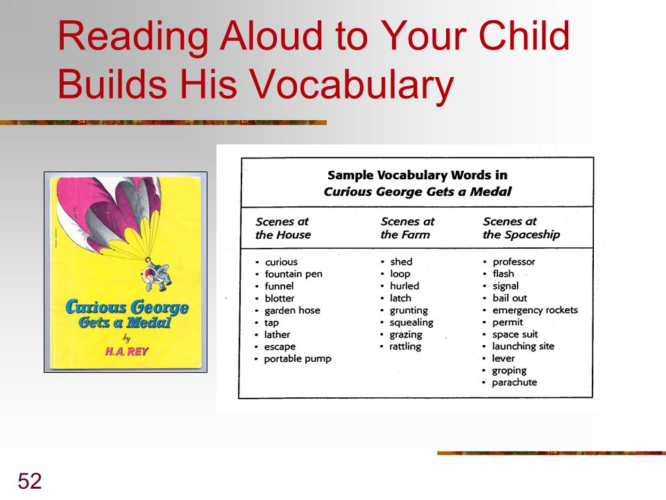 Reading Aloud to Your Child Builds His Vocabulary