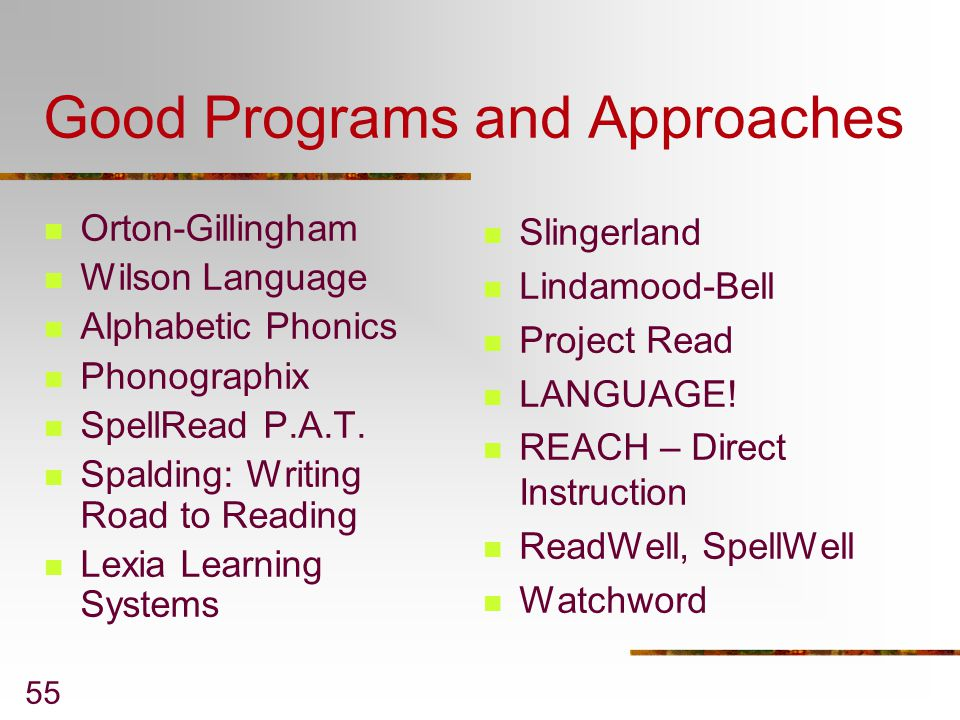 Good Programs and Approaches