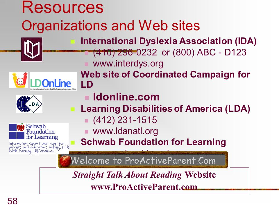 Resources Organizations and Web sites