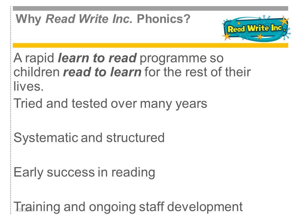 Why Read Write Inc. Phonics