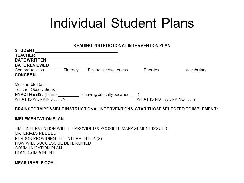 Individual Student Plans