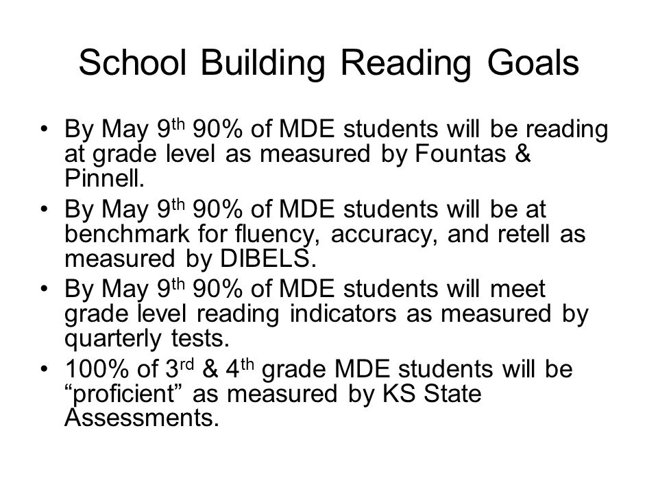 School Building Reading Goals