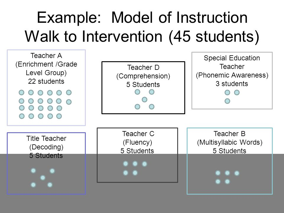 Example: Model of Instruction Walk to Intervention (45 students)