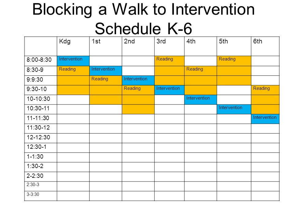 Blocking a Walk to Intervention Schedule K-6