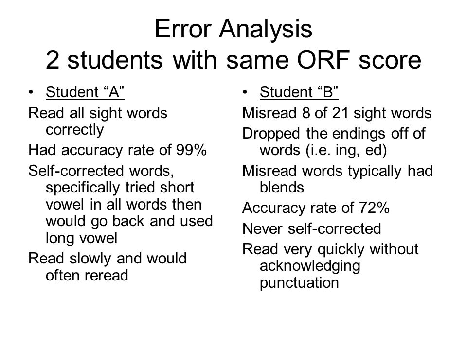 Error Analysis 2 students with same ORF score