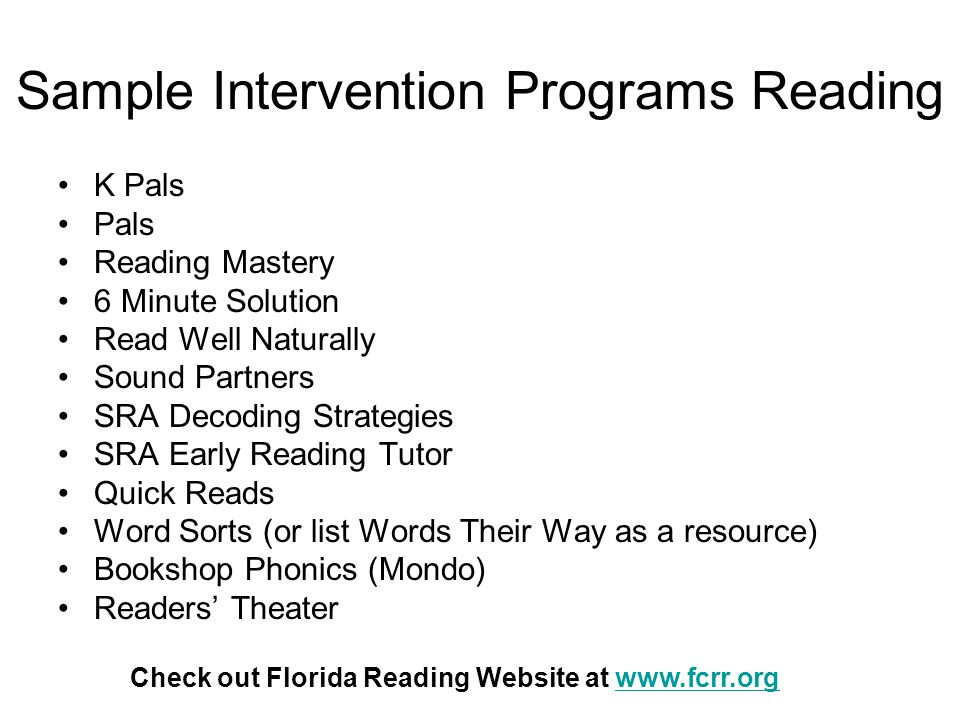 Sample Intervention Programs Reading