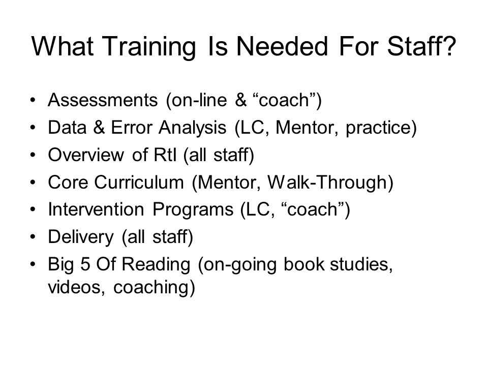 What Training Is Needed For Staff