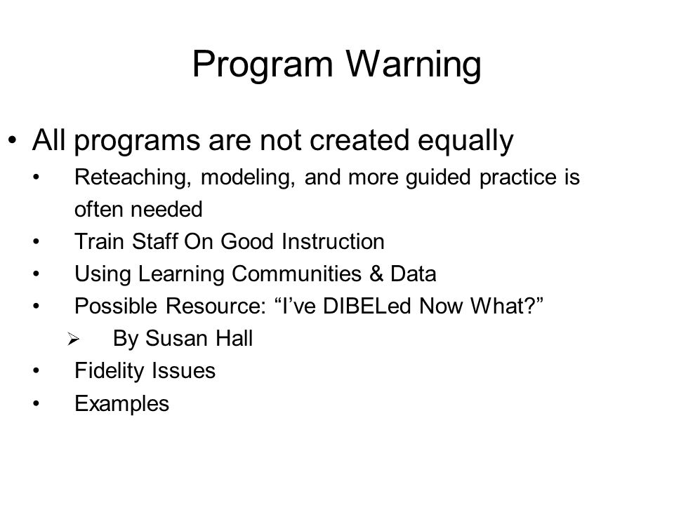 Program Warning All programs are not created equally