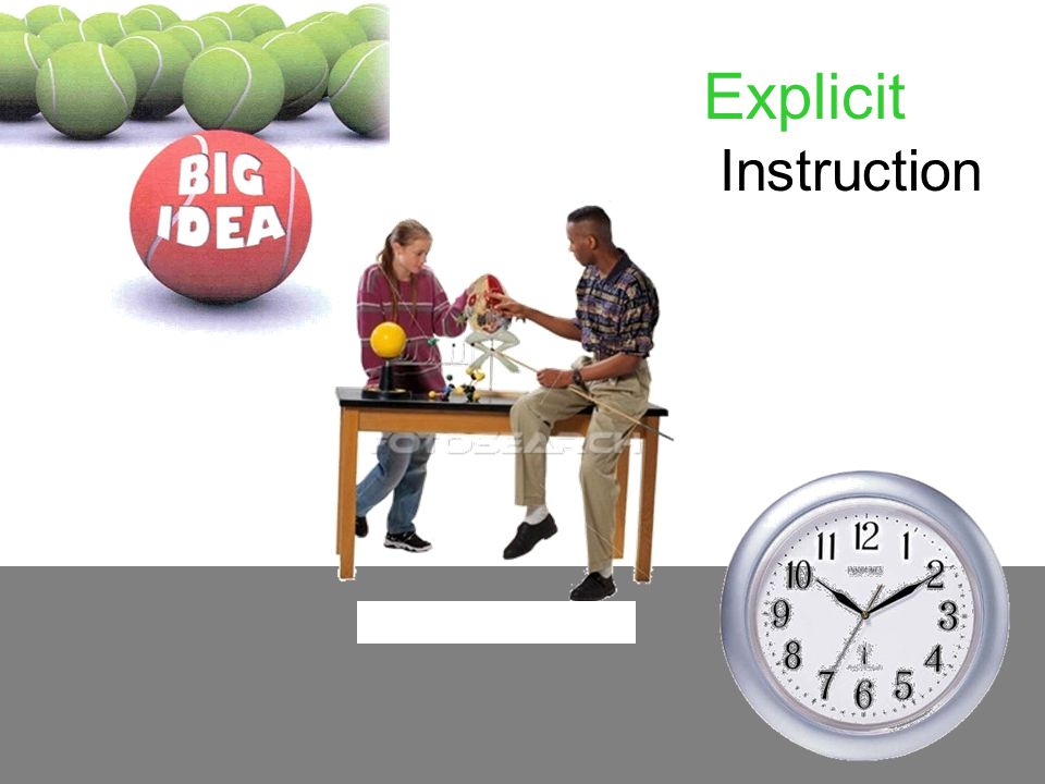 Explicit Instruction Instruction and practice are direct:
