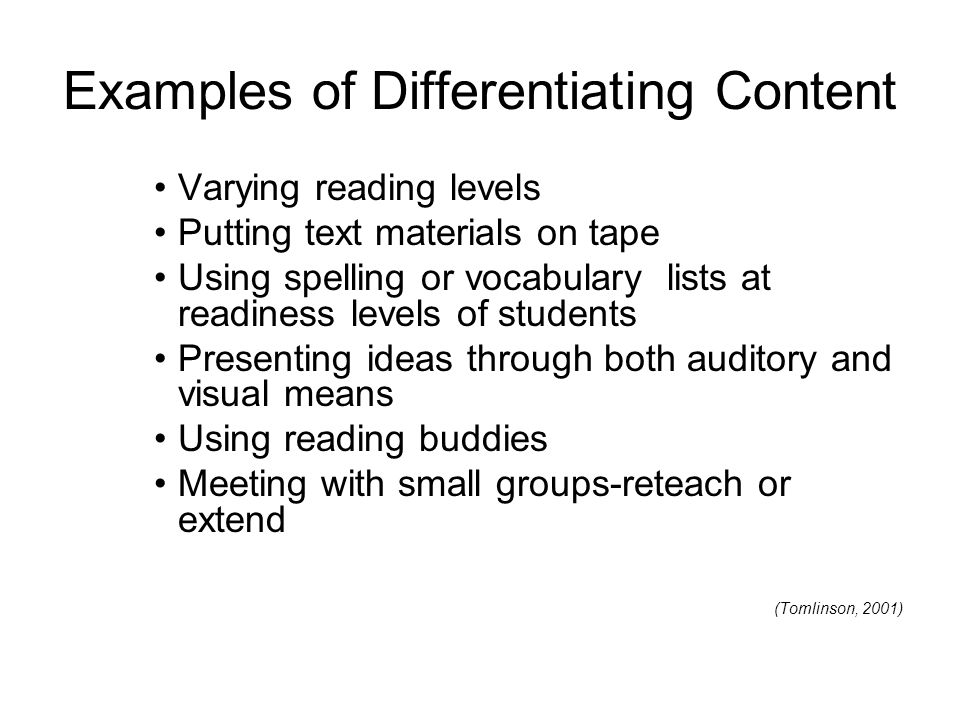Examples of Differentiating Content