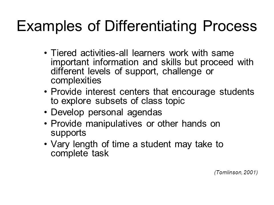 Examples of Differentiating Process