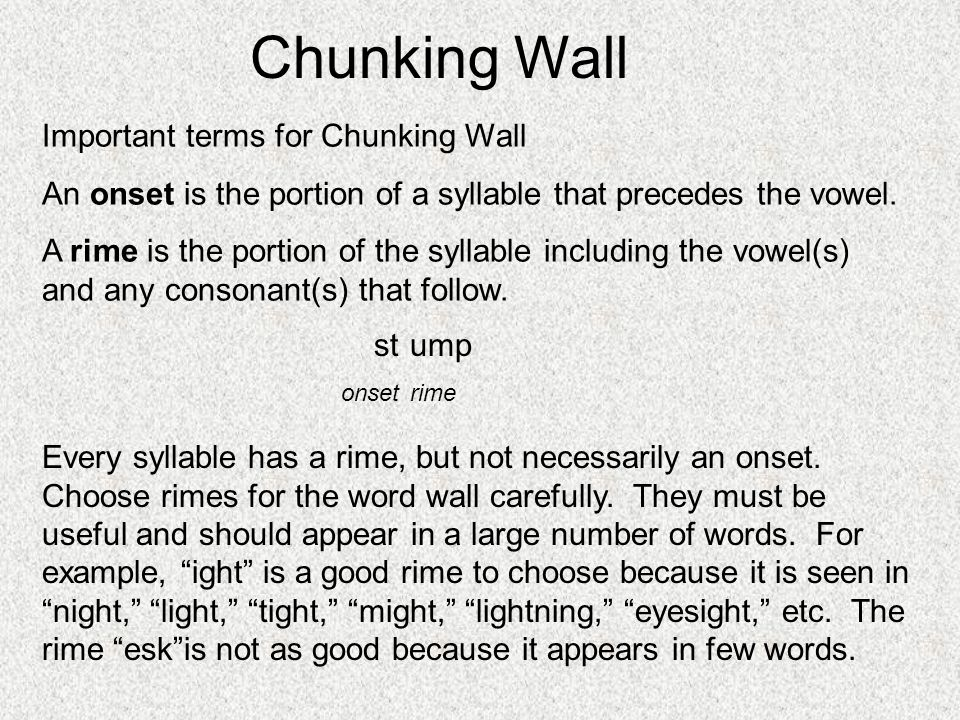 Chunking Wall Important terms for Chunking Wall