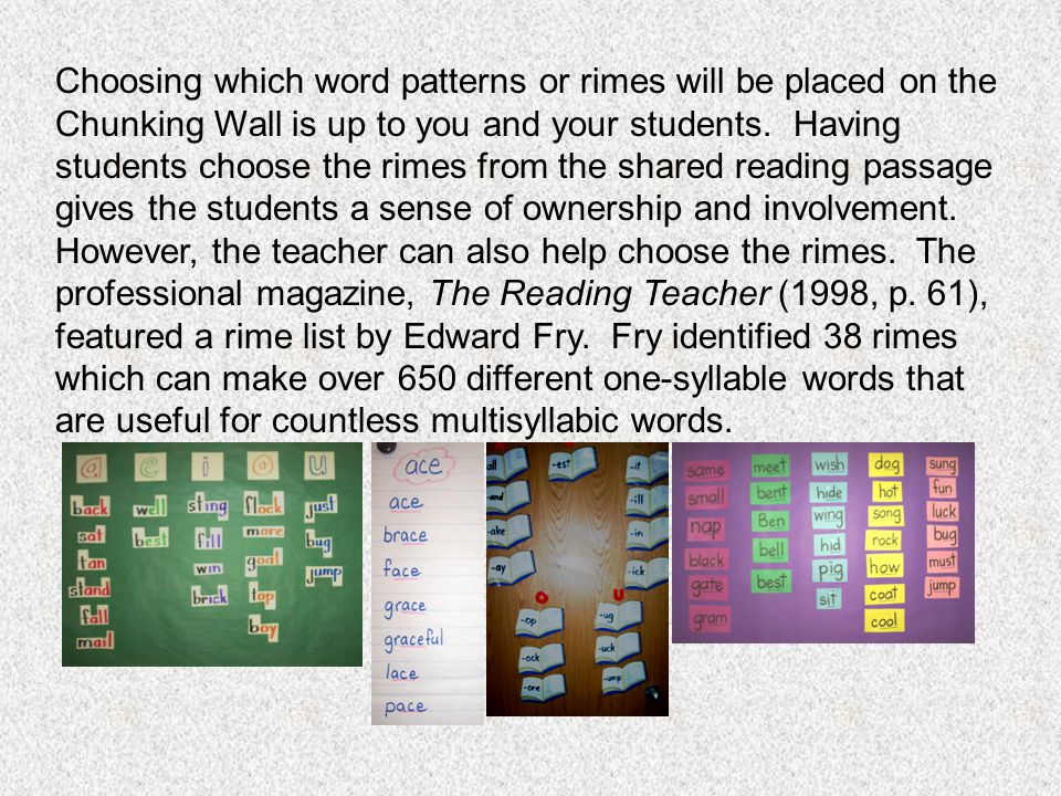 Choosing which word patterns or rimes will be placed on the Chunking Wall is up to you and your students.