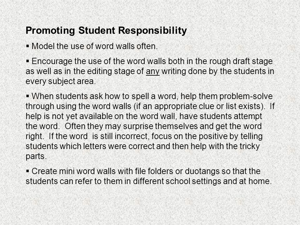 Promoting Student Responsibility