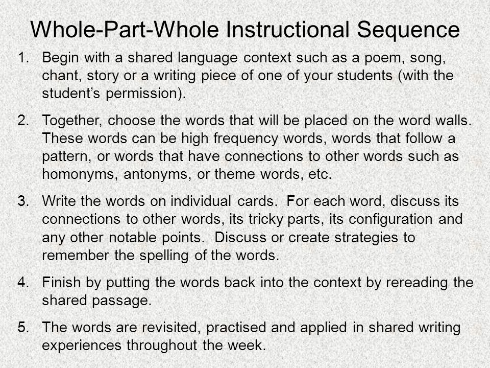 Whole-Part-Whole Instructional Sequence