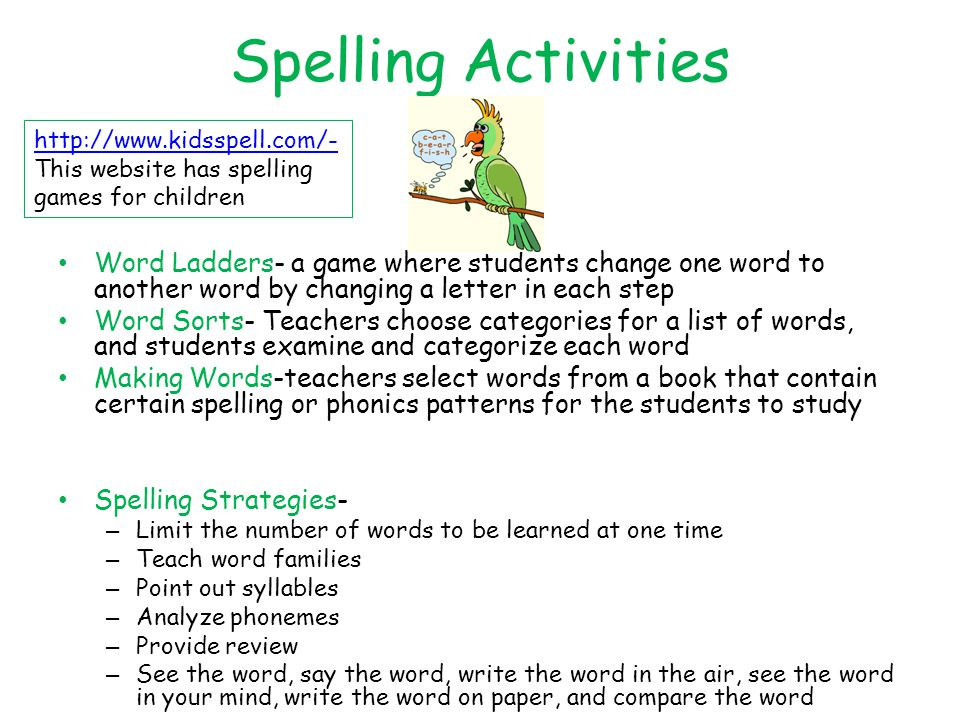 Spelling Activities http://www.kidsspell.com/- This website has spelling games for children.