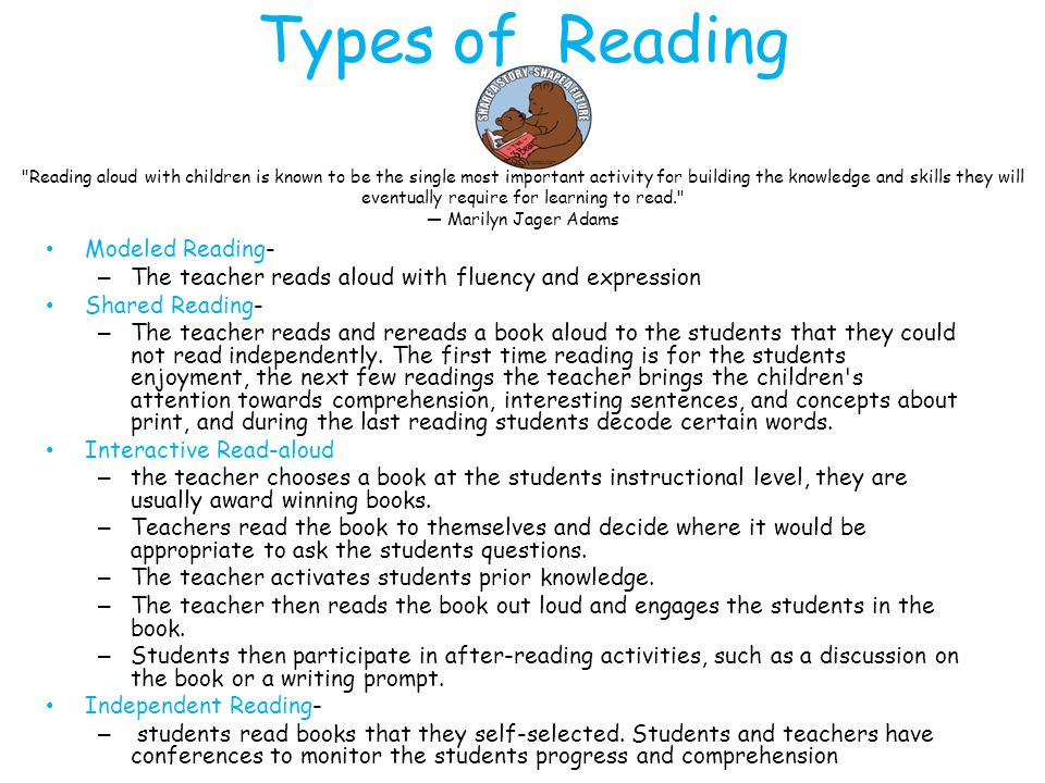 Types of Reading Modeled Reading-