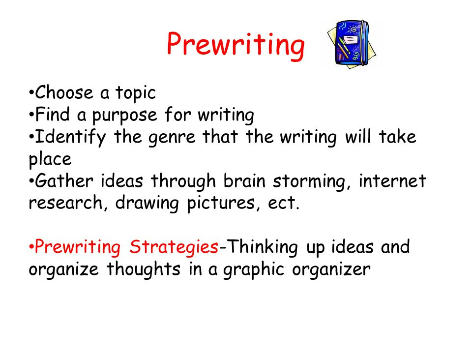 Prewriting Choose a topic Find a purpose for writing