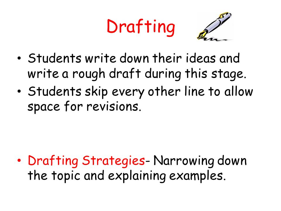 Drafting Students write down their ideas and write a rough draft during this stage. Students skip every other line to allow space for revisions.