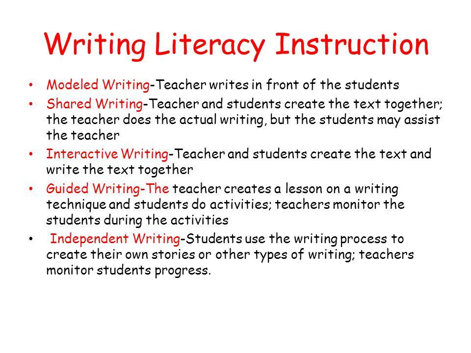 Writing Literacy Instruction