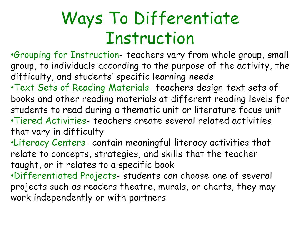 Ways To Differentiate Instruction