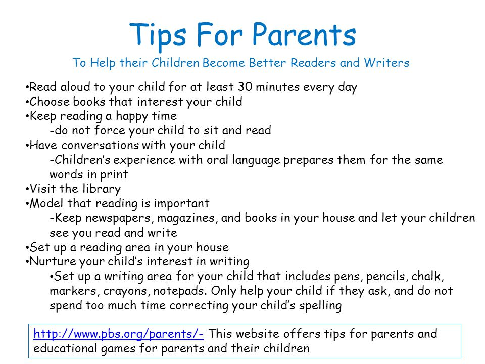 To Help their Children Become Better Readers and Writers