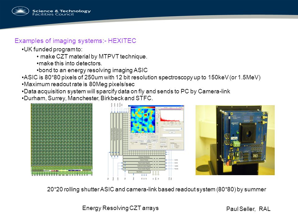 Examples of imaging systems:- HEXITEC