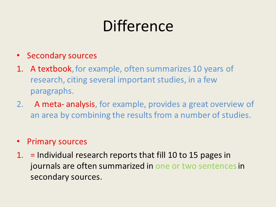 Difference Secondary sources