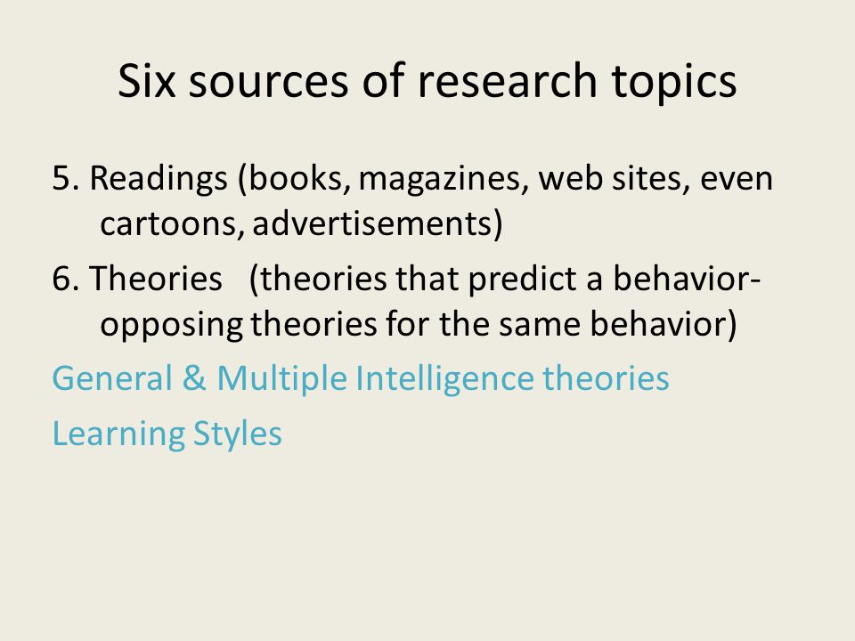 Six sources of research topics