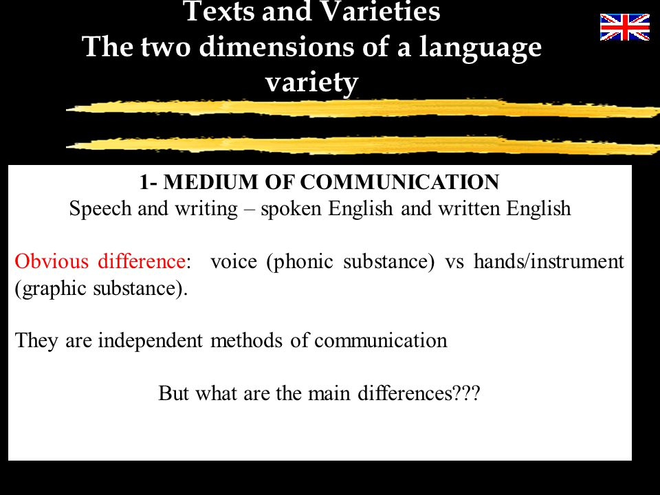 The two dimensions of a language variety 1- MEDIUM OF COMMUNICATION
