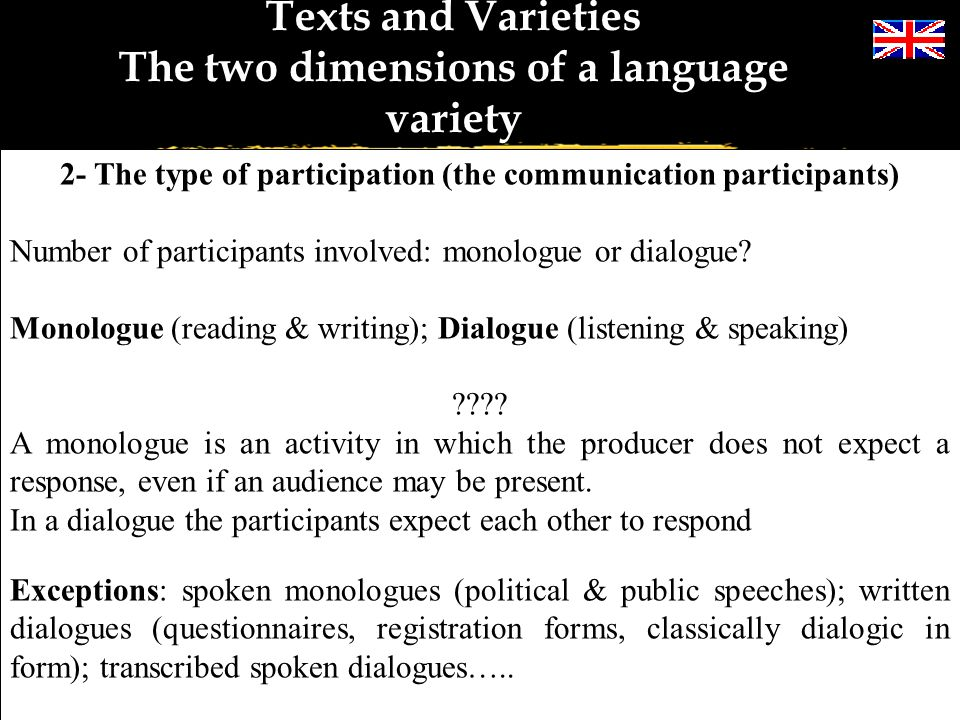 Texts and Varieties The two dimensions of a language variety