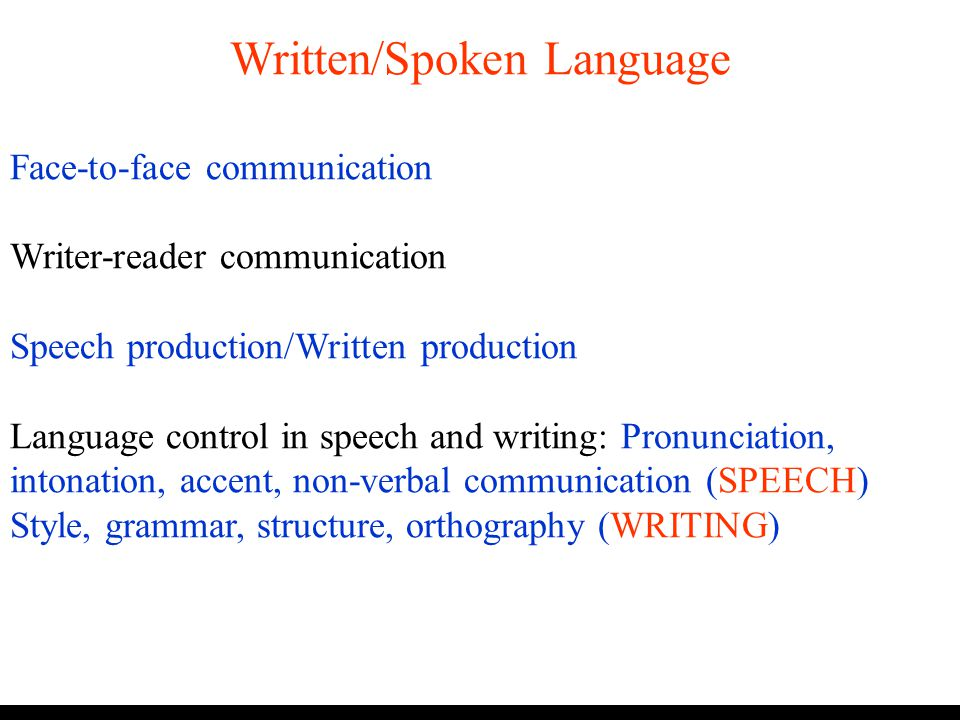 Written/Spoken Language